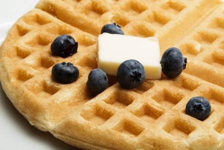 waffle with blueberries and butter