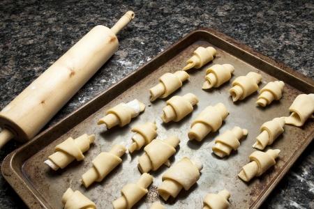Butterhorn rolt klaar voor het bakken