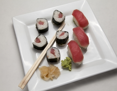 A plate of sushi with wasabi and ginger Banco de Imagens - 16844654