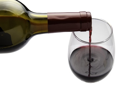 Wine being poured into a wine glass