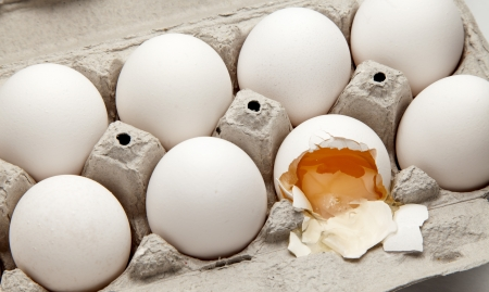Carton of eggs with one broken egg.  Reklamní fotografie