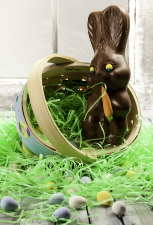 Chocolate Easter bunny in a basket with other candies