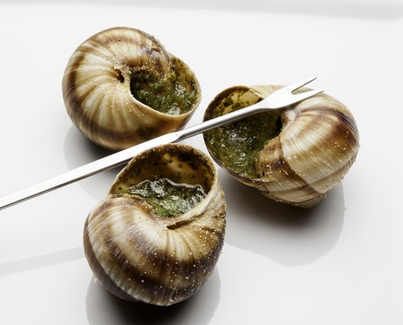 Three escargot ready to eat