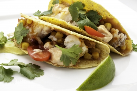 Fish Tacos in Corn Tortillas Фото со стока