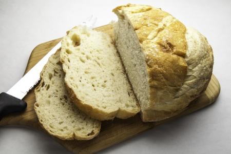 Sliced freshly baked sour dough bread
