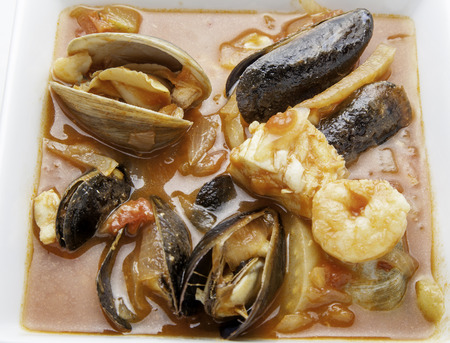 Close up view of cioppino