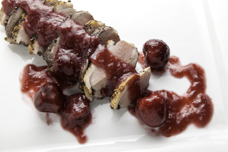Roasted duck breast with sweet cherry sauce