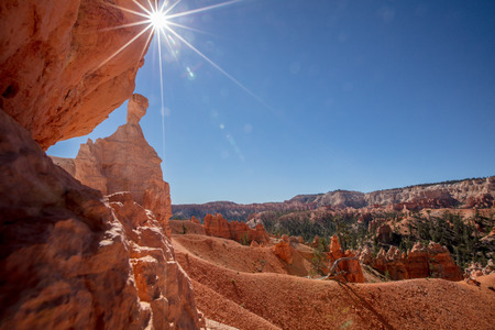Sun light over Bryce Canyon National Park.