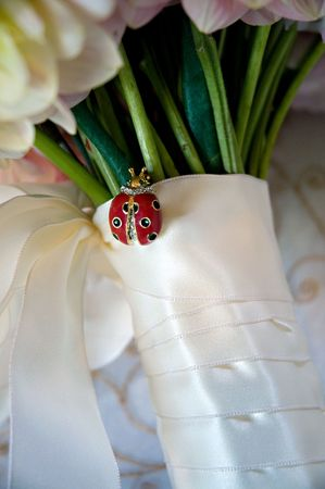 Lady Bug pin on a bridal bouquet. photo