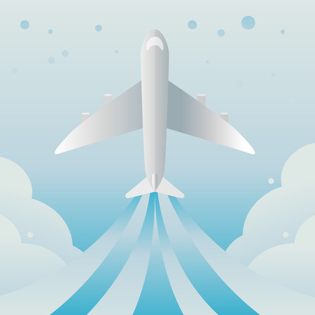 plane vector: Vector Plane and sky background.