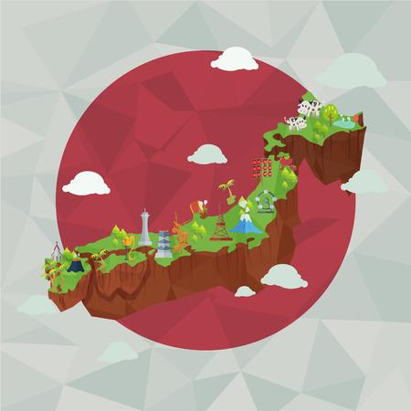 JAPON: Japon carte mignon, historique et la culture japonaise.