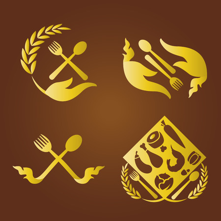 thailand symbol: Thai food logo set. Illustration
