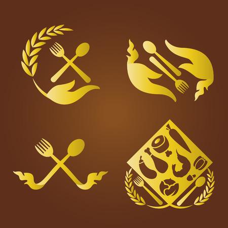 abstract food: Thai food logo set. Illustration