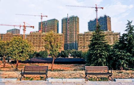 riverside trees: Real estate under construction Editorial