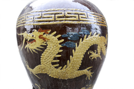 folk heritage: Basin carved with dragons