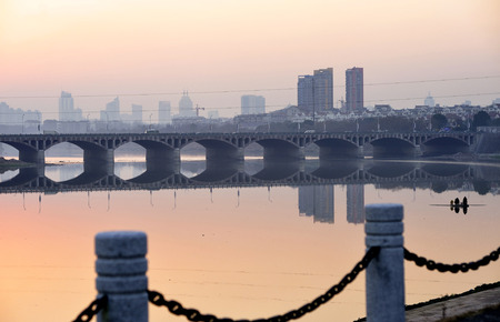 Sunset at the riverside Imagens