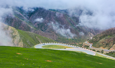 cloud capped: Circling mountain road