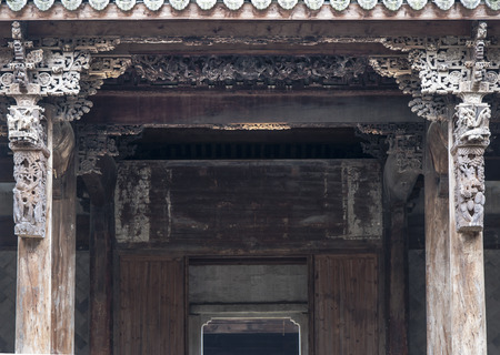 carve: Close up to a Chinese ancient architecture wood carve