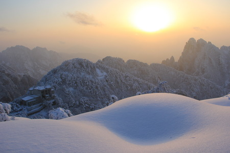 Huangshan covered in snow