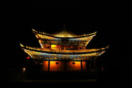 ancient building at Yunnan night view