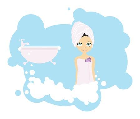 Beauty Girl after Shower Vector