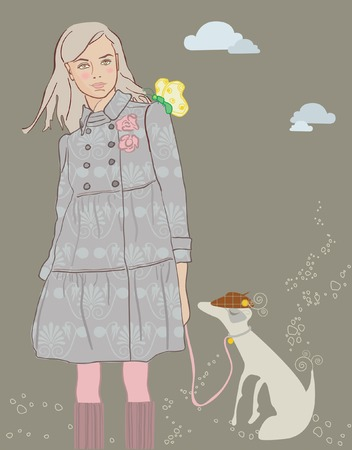 Girl is to Walk with Dog Vector