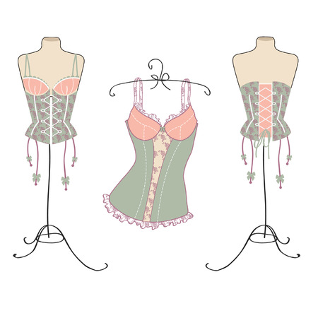 a pretty corset hanging in the dresser