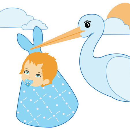 Stork and baby boy. Announcement card