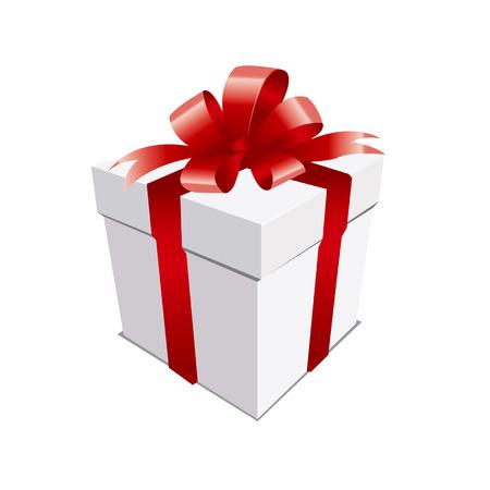 Un cadeau de Noël en argent avec un arc rouge.