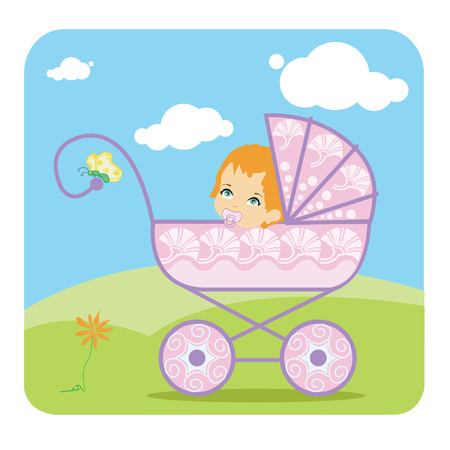 only baby girls: Baby peeking out from a baby carriage Illustration