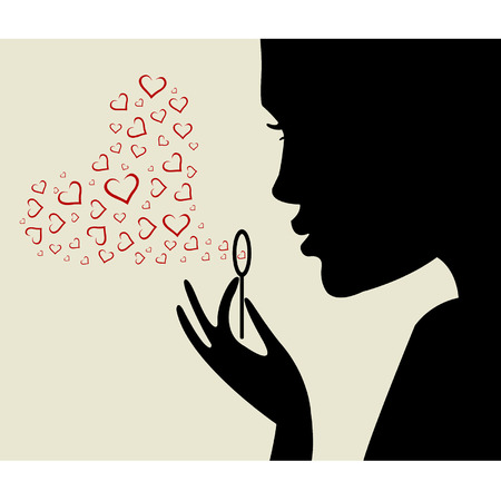 red head woman: Valentine card. Beautiful woman silhouette with heart Illustration