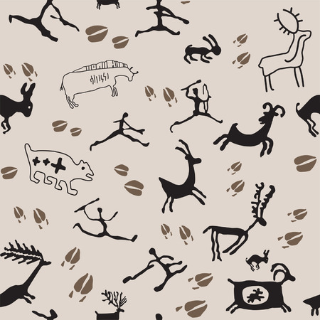 Cave Painting Hunters and Animals. Иллюстрация