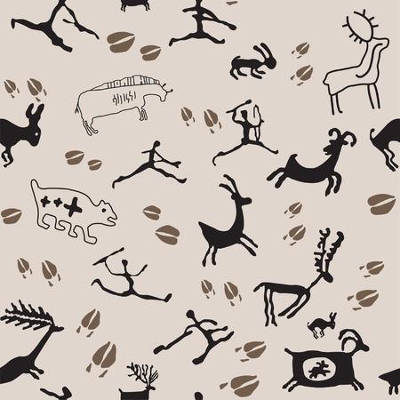 cave painting: Grotta di animali e cacciatori di pittura. Vettoriali
