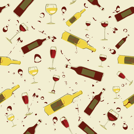 glass bottles: Seamless background wine bottles and glass of wine Illustration