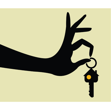 hand holding house: Take the keys for home Illustration