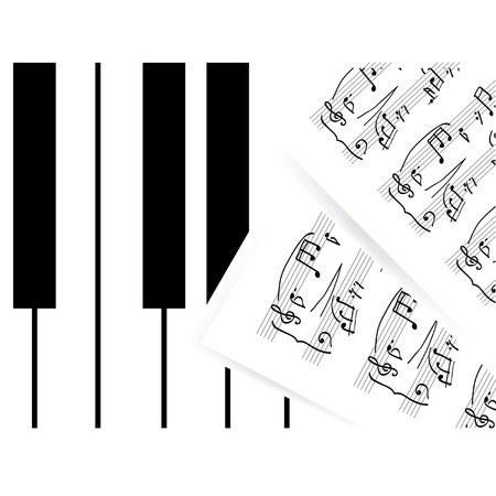 Piano keys with note Vector