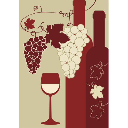 Glass of wine, grapes, bottles Stock Vector - 8754281