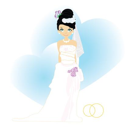 Elegant bride in Blue.Illustration Vector