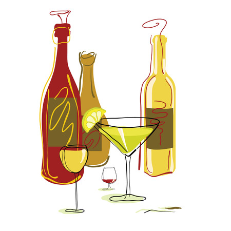 red straw: Assorted drinks and Cocktails. Illustration
