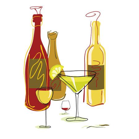 copa martini: Bebidas surtido y cócteles. Ilustración