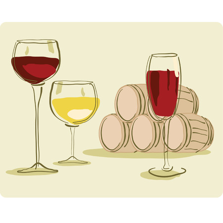 Glass of Wine and Wine Barrel Stock Vector - 8754303