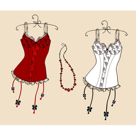 a pretty corset hanging in the dresser Vector