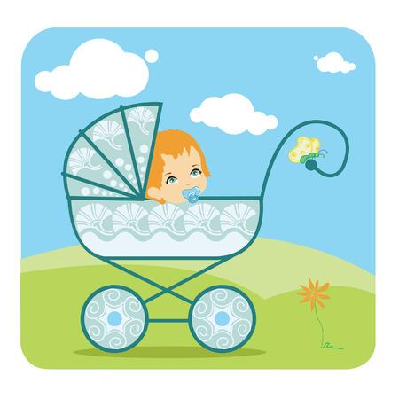Baby peeking fuori da una carrozzina