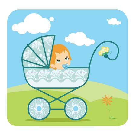 Baby peeking out from a baby carriage Vector