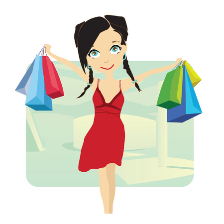 Beautiful young lady shopping in town Vector