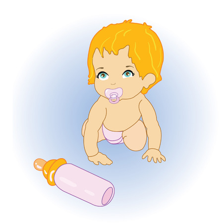 The  little baby with milk Vector