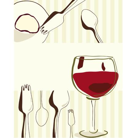 dinner setting: Tarjeta de men� o restaurante de estilizaci�n retro Vectores