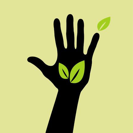 icono contaminacion: de mano con el signo de la hoja  Vectores