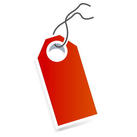 Red card price tag on white background  Vector
