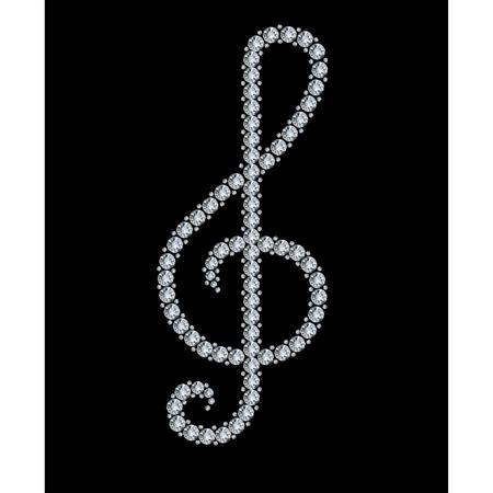 Diamond treble clef Stock Vector - 8754296